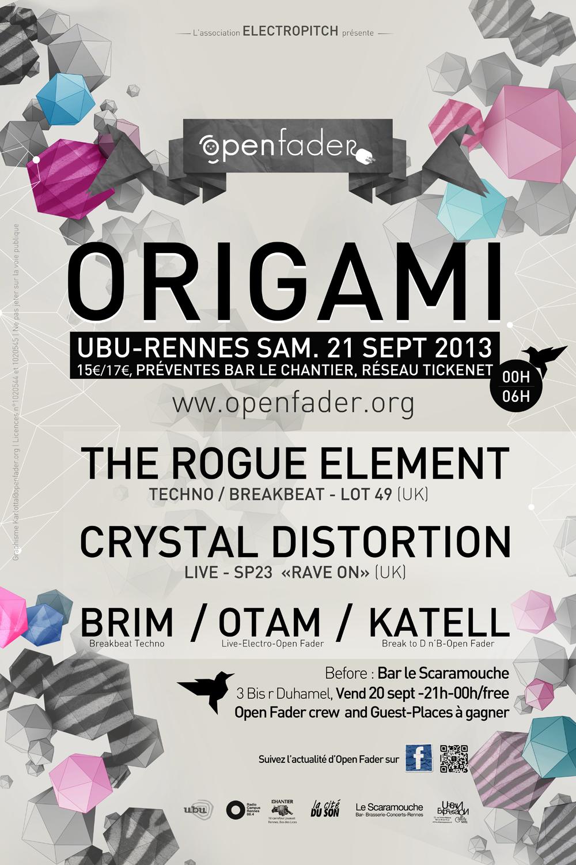 Open fader, Origami, soirée, clubbing, Rennes, electro, techno, Open Fader, Karlottadsgn, graphisme, print, web, rennes, bretagne